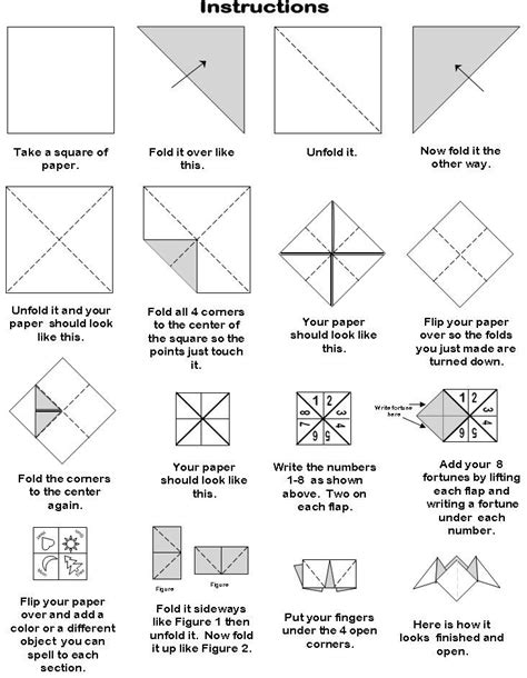 Folding Paper Fortune Tellers - how to make paper fortune teller