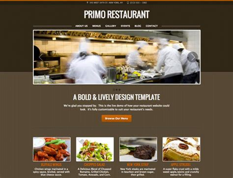 restaurant website design templates