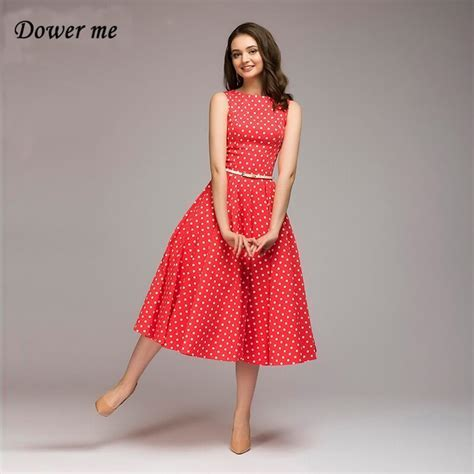 Summer Dress Women Ladies Frocks 2018 Red O Neck Sleevless