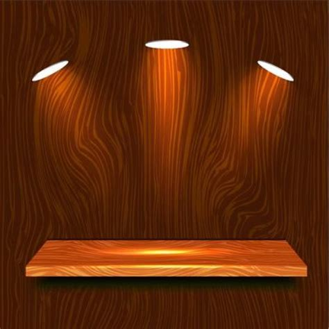 free hanging shelves wooden shelf hanging with three lights vector free