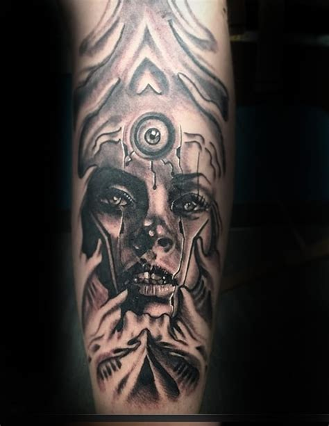 cory james tattoo geometric black and grey work by artist