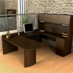 U Shaped Office Desk With Hutch Bestar Executive U Shape Wood Office Set W Hutch Chocolate Computer Desk Ebay