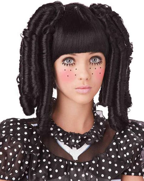 black doll makeup baby doll curls with fringe black wig accessories