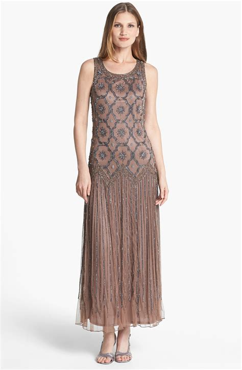 pisarro nights beaded drop waist dress pisarro nights embellished drop waist midi dress in brown