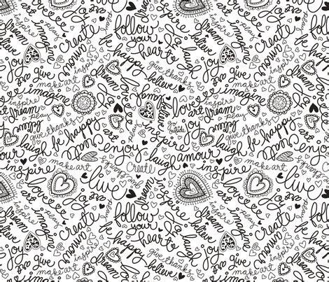 Doodle words wallpaper   cynthiafrenette   Spoonflower
