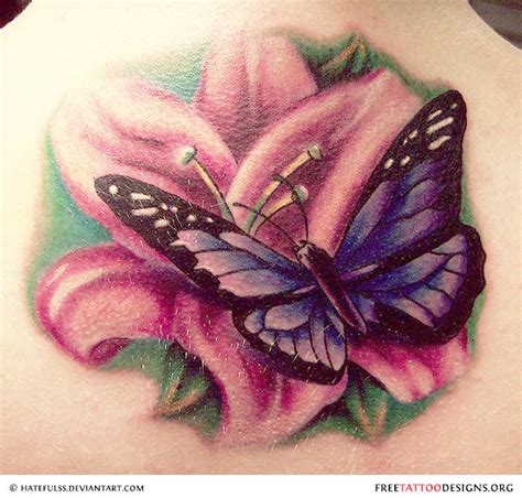 butterfly with flower tattoo designs butterfly gallery