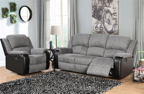 grey  black fabric  faux leather sofa set homegenies