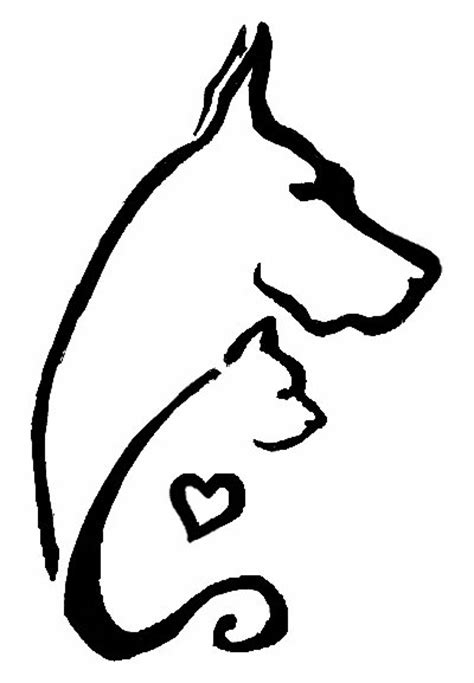 outline dog and cat tattoo design