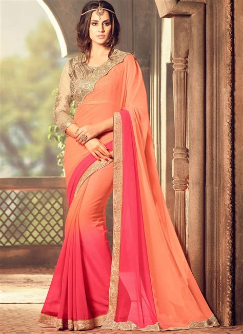 Simple Bordir Blouse shaded saree with contrast blouse and simple border