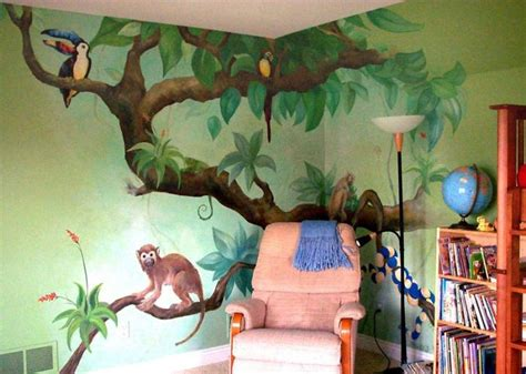 reading corner jungle tree wall murals