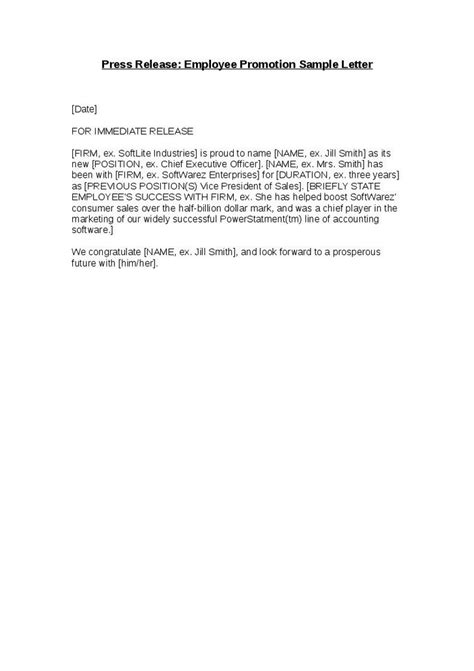 General Release Letter Employment Press Release Employee Promotion Sle Letter Hashdoc