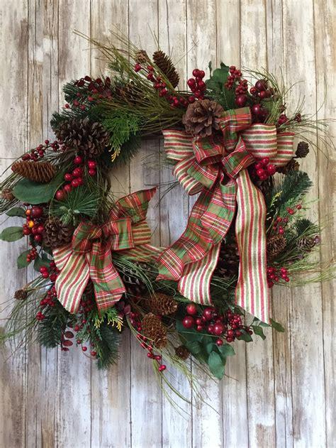 christmas wreath  door large christmas plaid wreath