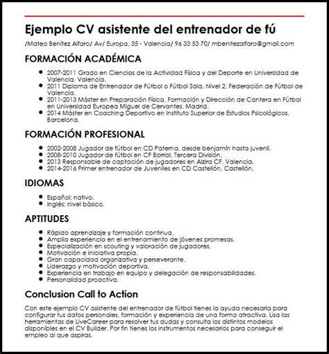 Modelo Curriculum Vitae Maquilladora Ejemplo Cv Asistente Entrenador De Futbol Micvideal