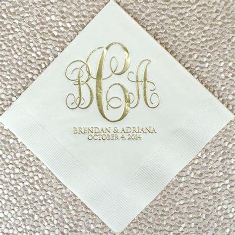 Wedding Cake Napkins by Personalized Monogram Script Wedding Napkins Custom