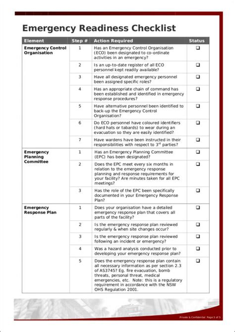 emergency response checklist template emergency response checklist template gallery free