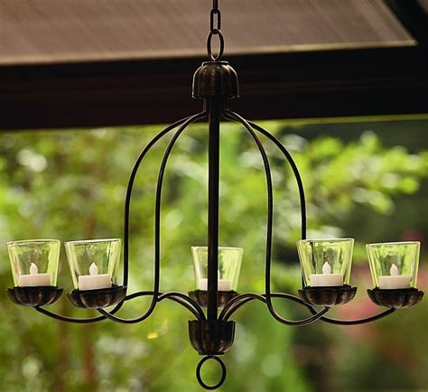 hanging votive chandelier for outdoor living space patio