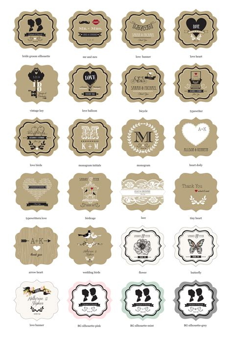 printable mason jar labels wedding vintage wedding mini mason jars