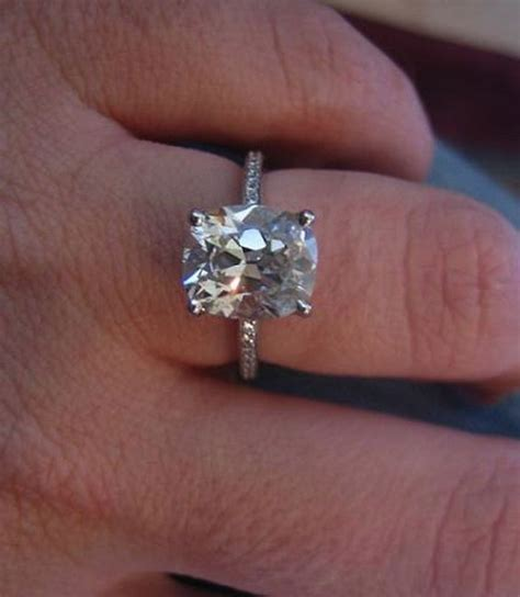 solitaire 2 carat cushion cut engagement ring with thin