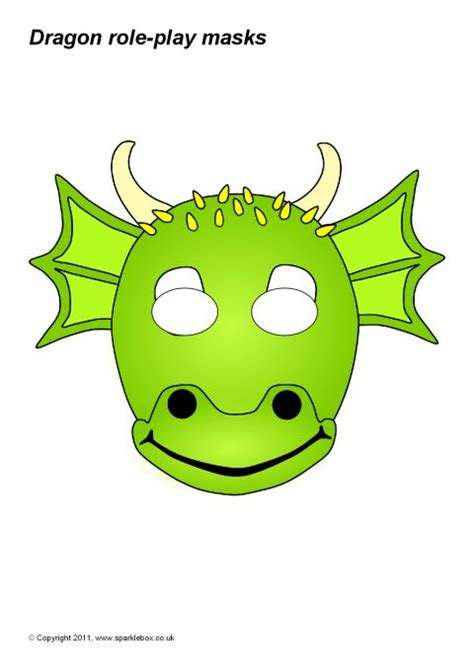 printable masks dragon dragon role play masks sb865 sparklebox