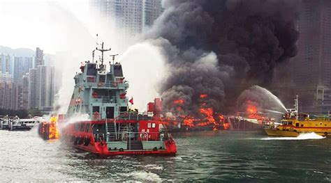 fire boat fighting fire marine firefighting with the hong kong fire services