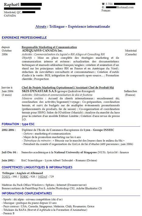 Exemples De Curriculum Vitae by Exemple De Cv En Fran 231 Ais Mod 232 Les Et Conseils