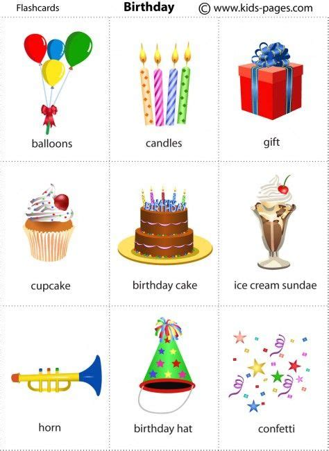 birthday themed words kids pages birthday vocabulary pinterest birthdays