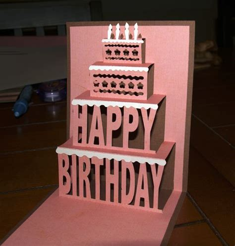3d birthday cake card template pop up cards tutorial illustration inspiration