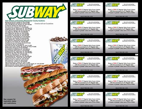 subway restaurant coupons printable printable subway coupons printable coupons online