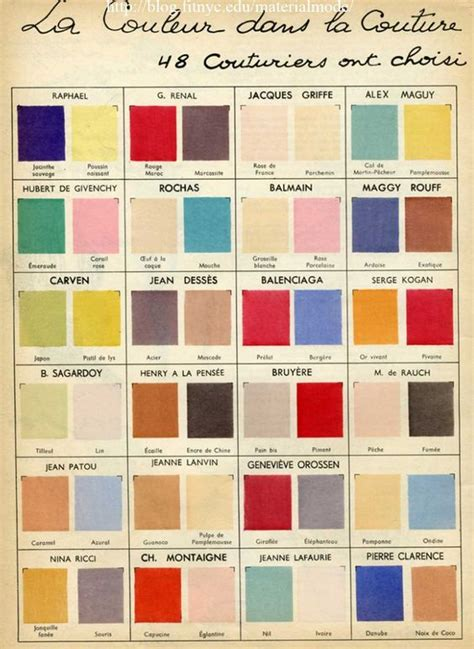 unique color names 1950s color chart of the great designers all the big names
