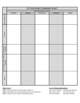 Co Teaching Planning Template Version 2 Of 3 By Justin Ford Tpt Co Teaching Planning Template