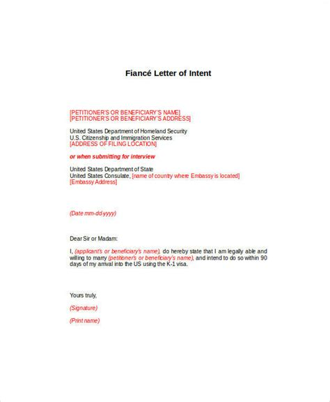 Fiance Letter Of Intent To Sle letter of intent exles