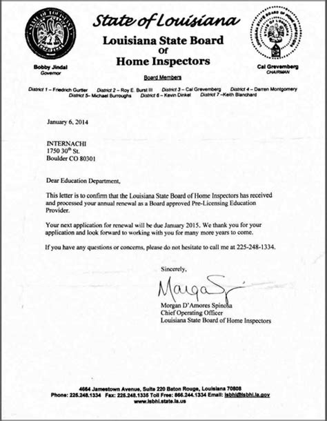 licensed home inspector  louisiana