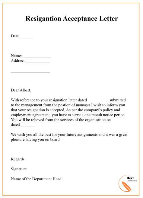 resignation acceptance letter hr letter