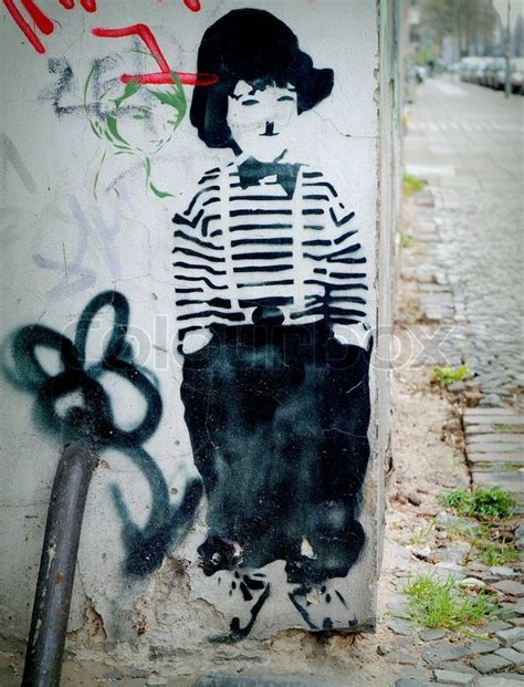 stencil graffiti street graphics 0500283427 charlie chaplin stencil street art graffiti stock photo