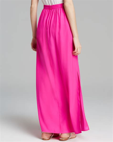 Maxi Pink lyst amanda uprichard maxi skirt slit silk in pink