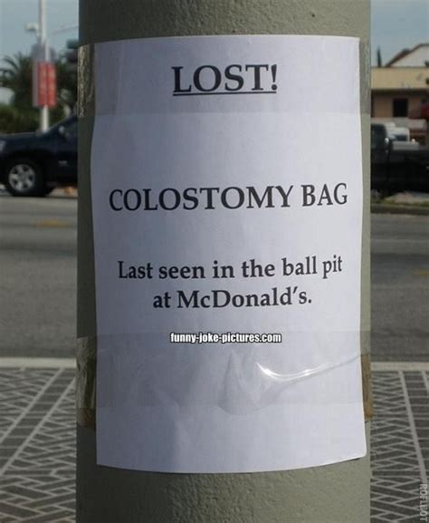 Lost Cat Flyer Joke lost colostomy bag joke picture signs