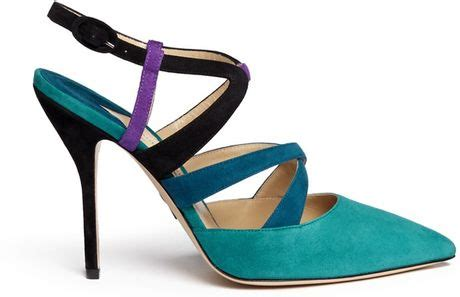 Miss Selfridges Blue Suede Sling Back by Paul Andrew Soho Caged Suede Slingback Pumps In Blue