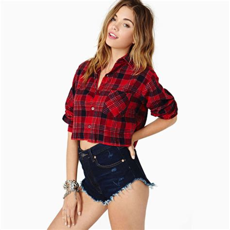 Crop Flanel shorts crop tops jewels hair ombre pale black