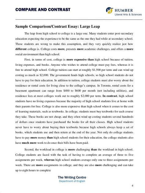 Comparative Analysis Essay by 9 Comparative Essay Sles Free Pdf Format