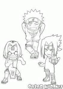 Download or print out the coloring page naruto sakura and sasuke