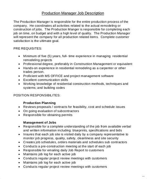 production manager job description ready photograph resume