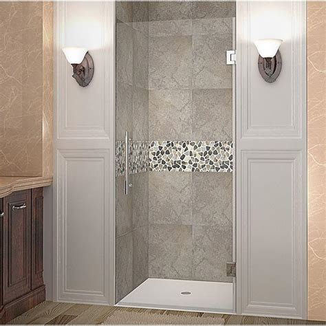24 Inch Shower Doors Aston Cascadia 24 In X 72 In Completely Frameless Hinged Shower Door In Stainless Steel With