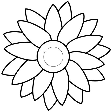 Outline Of Sunflower To Colour by Clip Sunflower Outline Clipart Best