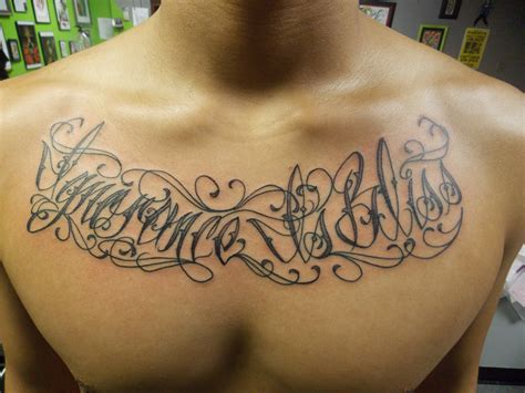 chest tattoo designs writing tattoos designs ideas
