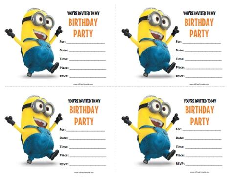 Minions Birthday Invitations Free Printable Allfreeprintable Com Minion Birthday Invitations Templates Free
