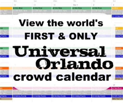universal orlando 12 month crowd calendar with park hours