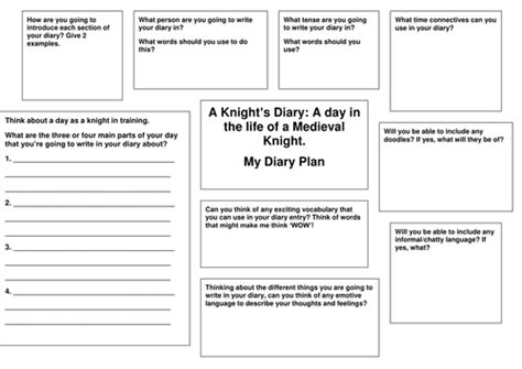 diary writing planning template medieval knights by