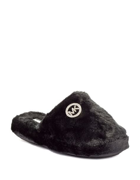 michael kors faux fur slippers michael michael kors faux fur slippers in black lyst