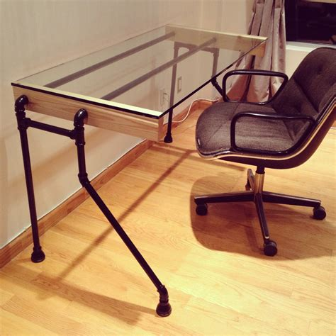 wood pipe bent leg desk