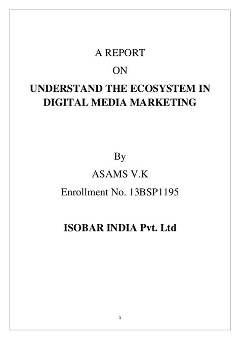 Digital Marketing Mba Project Report by Project Report On Digital Media Marketing